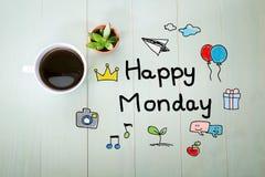 Szczęśliwa Poniedziałek wiadomość z filiżanką kawy Zdjęcie Royalty Free