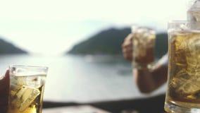 Szczęśliwa potomstwo grupa przyjaciele wznosi toast z szkłem piwo Otuchy sukces 3840x2160 zbiory