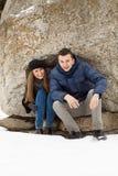 Szczęśliwa potomstwo para w zim górach Obraz Royalty Free