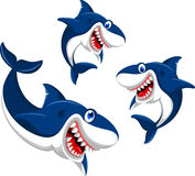 Szczęśliwa potrójna rekin kreskówka Zdjęcia Royalty Free