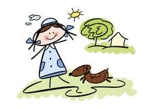 szczęśliwa psia dziewczyna jej mały zwierzę domowe Zdjęcia Royalty Free