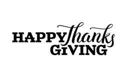 Szczęśliwa ręka rysująca dziękczynienie dnia literowania etykietka w czarnym kolorze ilustracji