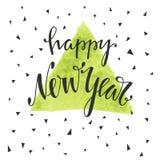 Szczęśliwa ręka rysujący nowego roku literowanie Zdjęcie Stock