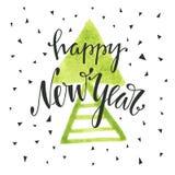 Szczęśliwa ręka rysujący nowego roku literowanie Fotografia Stock