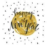 Szczęśliwa ręka rysujący nowego roku literowanie Zdjęcia Royalty Free
