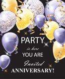 Szczęśliwa rocznicy karta z shinny balony Świątecznego partyjnego tła realistyczny wektor royalty ilustracja
