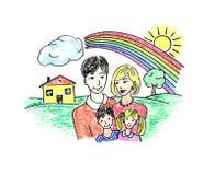 szczęśliwa rodzina ciągnącego Zdjęcie Stock