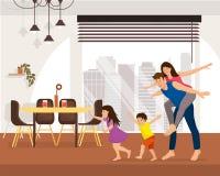 Szczęśliwa rodzina Cieszy się Nowego mieszkanie kreskówki wektor ilustracji