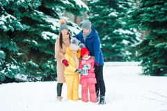 Szczęśliwa rodzina cieszy się zima śnieżnego dzień Fotografia Royalty Free