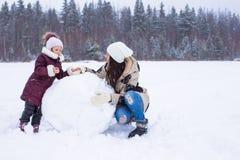 Szczęśliwa rodzina cieszy się zima śnieżnego dzień Obrazy Royalty Free
