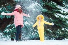 Szczęśliwa rodzina cieszy się zima śnieżnego dzień Zdjęcia Stock