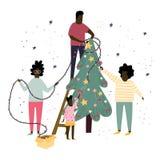 Szczęśliwa rodzina dekoruje choinki wraz z bąblami, łękami i girlandami, Płaska kreskówki ilustracja ilustracji