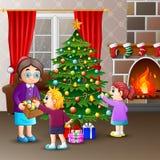 Szczęśliwa rodzina dekoruje choinki z piłkami ilustracja wektor