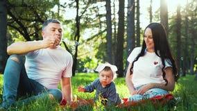 Szczęśliwa rodzina dmucha mydlanych bąble z dziewczynką wydaje czas w lato parku zbiory wideo