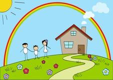 Szczęśliwa rodzina i ich dom royalty ilustracja