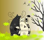 Szczęśliwa rodzina kot i kota obsiadanie, Zdjęcia Stock
