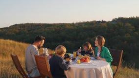 Szczęśliwa rodzina lunch w naturze zbiory