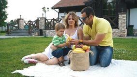 Szczęśliwa rodzina na gazonie w jardzie zbiory