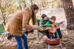 Szczęśliwa rodzina na pinkinie Zdjęcie Stock