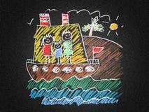 Szczęśliwa rodzina na rejs wycieczce w statku Zdjęcie Royalty Free