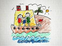 Szczęśliwa rodzina na rejs wycieczce w statku Obraz Stock