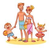 Szczęśliwa rodzina na wakacje Lata odtwarzanie ilustracji