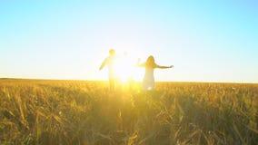 Szczęśliwa rodzina outdoors biega na pszenicznym polu z chłopiec Matka, ojciec i syn, żartujemy dziecka ma zabawę na letnim dniu zbiory