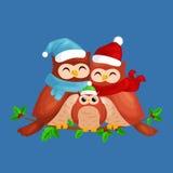 Szczęśliwa rodzina sowy mamy dziecko w ciepłym obsiadaniu na gałąź i tata kapeluszu i szalika i cieszy się wigilię boże narodzeni Zdjęcia Stock