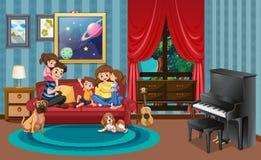 Szczęśliwa rodzina w molwa pokoju ilustracji