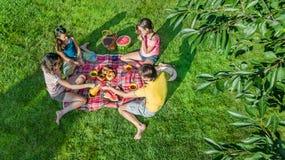 Szczęśliwa rodzina z dziećmi ma pinkin w parku, rodzice z dzieciakami siedzi na ogrodowej trawie i je zdrowych posiłki outdoors zdjęcie royalty free