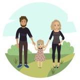 Szczęśliwa rodzina z niepełnosprawną dziewczyną Para i dziecko Ilustracja Wektor