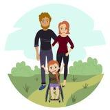 Szczęśliwa rodzina z niepełnosprawną wózek inwalidzki dziewczyną Royalty Ilustracja