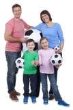 Szczęśliwa rodzina z piłek nożnych piłkami Zdjęcia Royalty Free