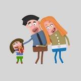 Szczęśliwa rodzina z prezentem 3d ilustracji