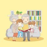 Szczęśliwa rodzinna czytelnicza książka ilustracji