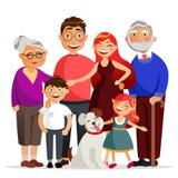 Szczęśliwa rodzinna pozycja wpólnie ściska, ono uśmiecha się Matka, ojciec, córka, syn, babcia i dziad, rodzina royalty ilustracja