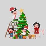 Szczęśliwa rodzinna target1052_0_ Choinka 3d ilustracji