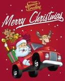 Szczęśliwa Santa Claus przejażdżka ciężarówka boże narodzenie prezenty pełno royalty ilustracja