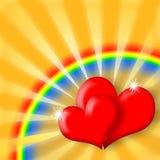 szczęśliwa serc miłości tęcza Obraz Royalty Free