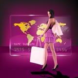 Szczęśliwa shoping dziewczyna Zdjęcia Royalty Free