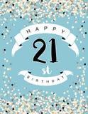 Szczęśliwa 21st Urodzinowa Wektorowa ilustracja błękitna karta Ilustracji