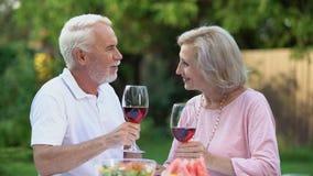 Szczęśliwa stara para wznosi toast, mężczyzna prawi komplementy ukochanej kobiety, małżeństwo agencja zdjęcie wideo