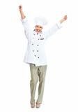 Szczęśliwa szef kuchni kobieta. Zdjęcia Royalty Free