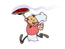 szczęśliwa szef kuchni pizza ilustracja wektor