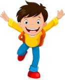 Szczęśliwa szkolnej chłopiec kreskówka royalty ilustracja
