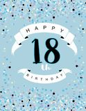 Szczęśliwa 18th Urodzinowa ilustracja Delitace Malutcy confetti na Bławym tle royalty ilustracja