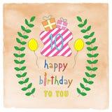 Szczęśliwa 10th urodzinowa karta na pomarańczowej akwareli Obraz Royalty Free