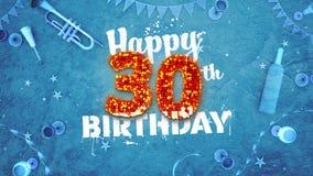 Szczęśliwa 30th Urodzinowa karta z pięknymi szczegółami Zdjęcia Stock