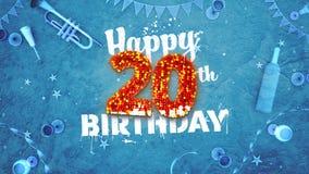 Szczęśliwa 20th Urodzinowa karta z pięknymi szczegółami Zdjęcia Stock