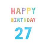 Szczęśliwa 27th urodzinowa rocznicy karta Fotografia Stock